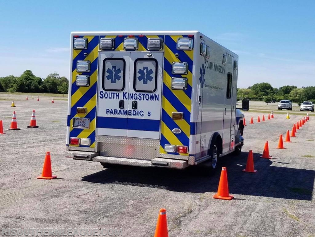 A South Kingstown Paramedic takes their Medic 5 through the cone course straight away.