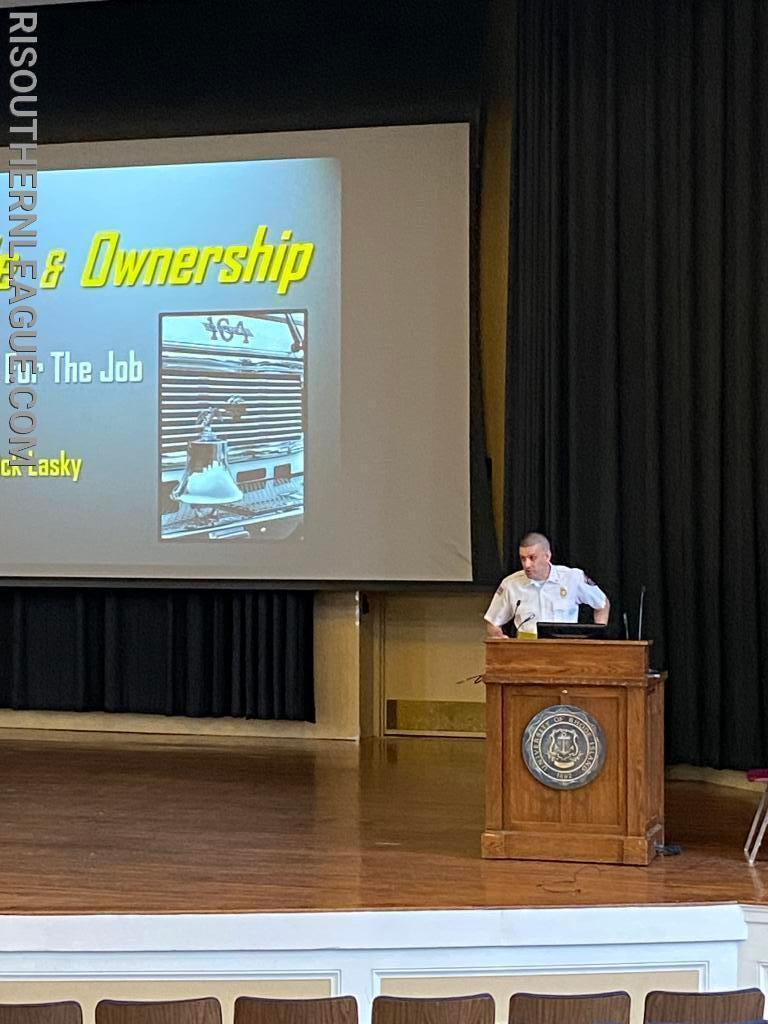 Chief Chris DeGrave introduces Chief Lasky at the start of the program.