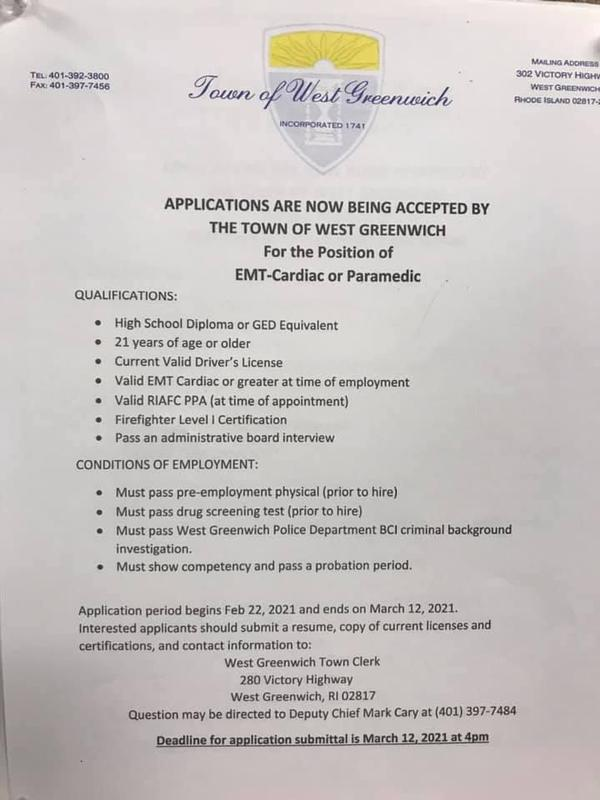 Job Posting from the Town of West Greenwich