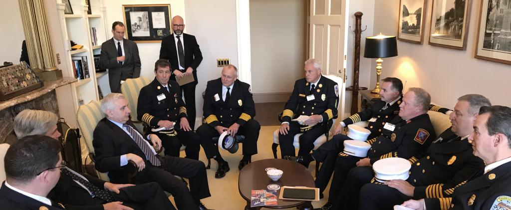 President Nate Barrington joins RI Association of Fire Chiefs President Frank Brown and other Fire Chiefs in meeting with Senator Sheldon Whitehouse and Senator Jack Reed in Washington DC