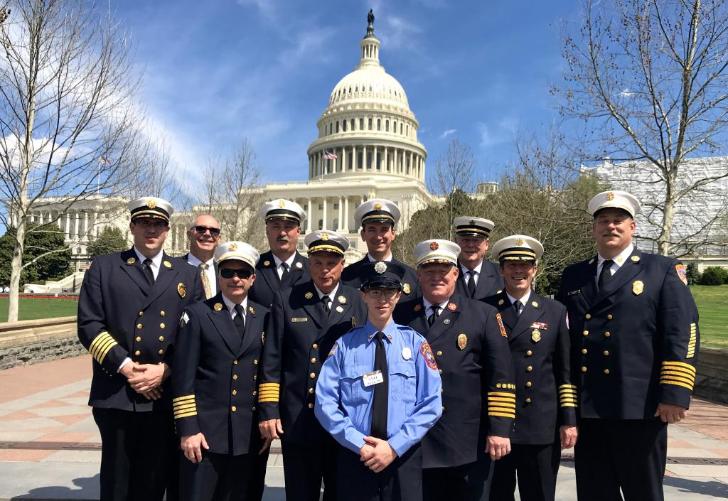 Rhode Island Fire Chiefs from Bristol, Woonsocket, Lincoln, Coventry, Narragansett, Central Falls, Kingston, West Warwick, and North Kingstown pose after their meetings on Capitol Hill recently.